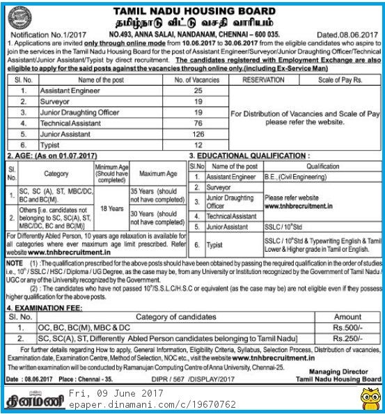 www.tnpsclink.in - TNHB Recruitment June 2017