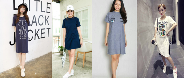 Custom & Sablon Baju Dress Kaos T-Shirt Wanita Short & Long Sleeve