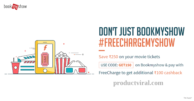 Save Rs 250 on Your Movie Tickets- Bookmyshow, Freecharge Coupons