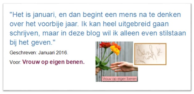 Gastenblog: Geven, voor Vrouw op eigen benen.