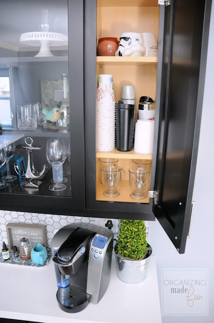 Coffee/Wine Bar top coffee cupboard organized :: OrganizingMadeFun.com