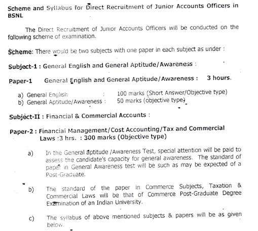 BSNL JAO Exam Scheme & Syllabus