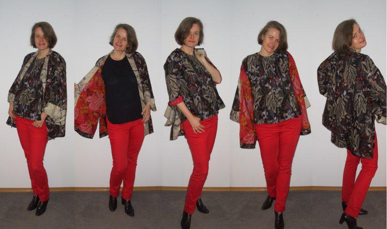 Rote Röhre mit Blusenshirt und Kimonojacke kombiniert