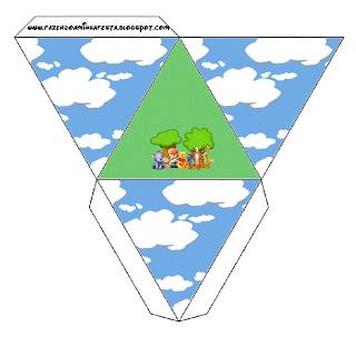 Cajita pirámide para imprimir gratis de Winnie de Pooh y sus amigos.