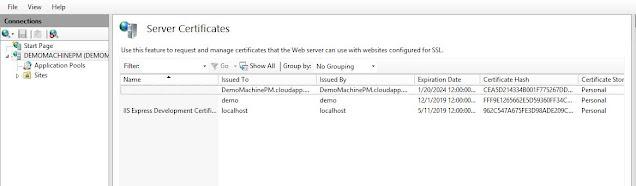 certificate added in Server Certificates