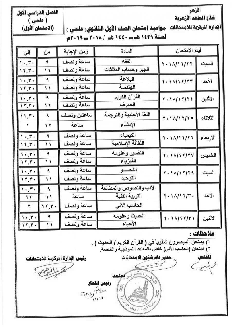 جدول إمتحانات الصف الأول الثانوي الأزهري علمي الترم الأول 2019