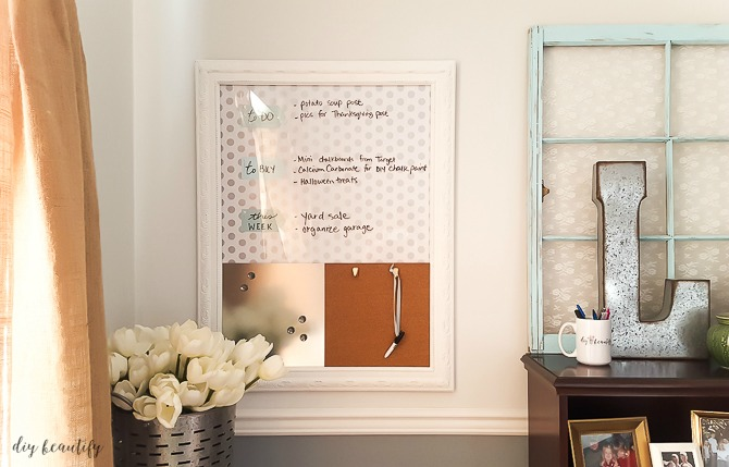 Upcycle an old picture into a functional dry erase, magnetic memo board for just a few bucks! See how at diy beautify!