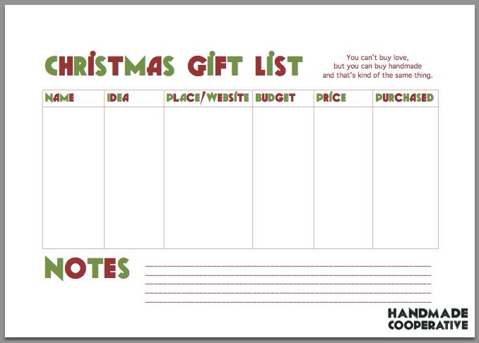 Free Christmas Gift List Printable – Handmade Cooperative