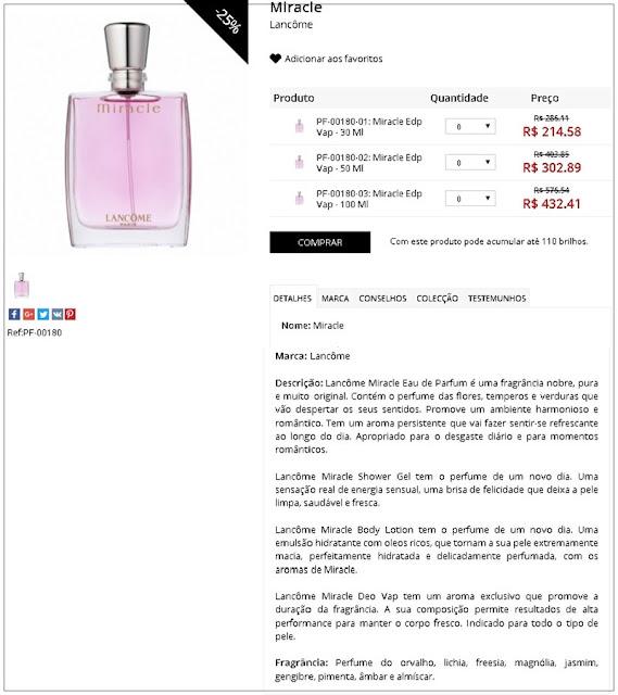 Perfume Miracle - EDP  - 25% de desconto + 5% cupom viagensebeleza