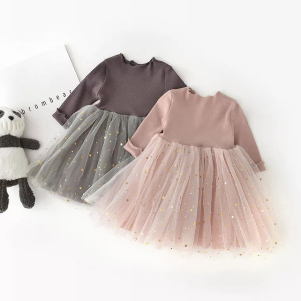 Stars Tutu Girls Casual School Wear Princess Party Dress