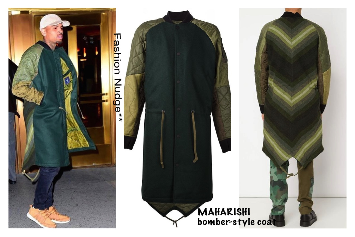 the latest 0029a 3611c Streetwear lust - Chris Brown in MAHARISHI bomber-style coat - Power 105.1,  NYC