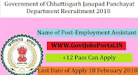 Government of Chhattisgarh Janapad Panchayat Recruitment 2018- Employment Assistant