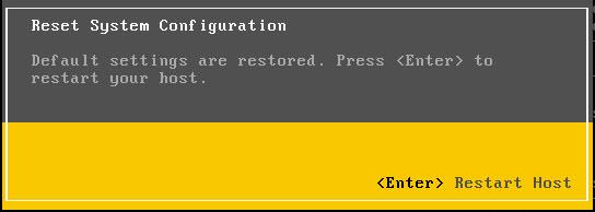 VMWare: ESXi reset de fábrica