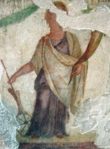 Roman Goddess Fortuna (good luck); fresco from a Roman altar of Fortuna and Ceres at the Archaeological Museum in Milan, Italy. Photo credit: Giovanni Dall'Orto, derivative work permitted.