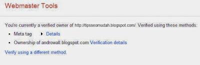 Cara mendaftarkan web blog di webmaster tool