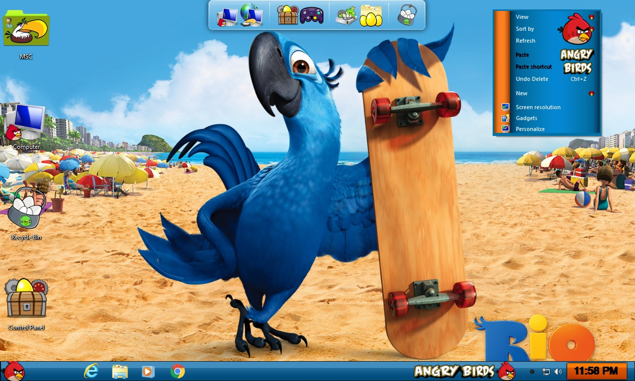 Angry Birds Rio Transformation Pack for Windows 7