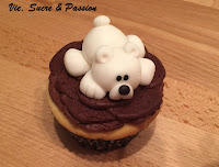 Cute fondant Polar Bear Cupcake