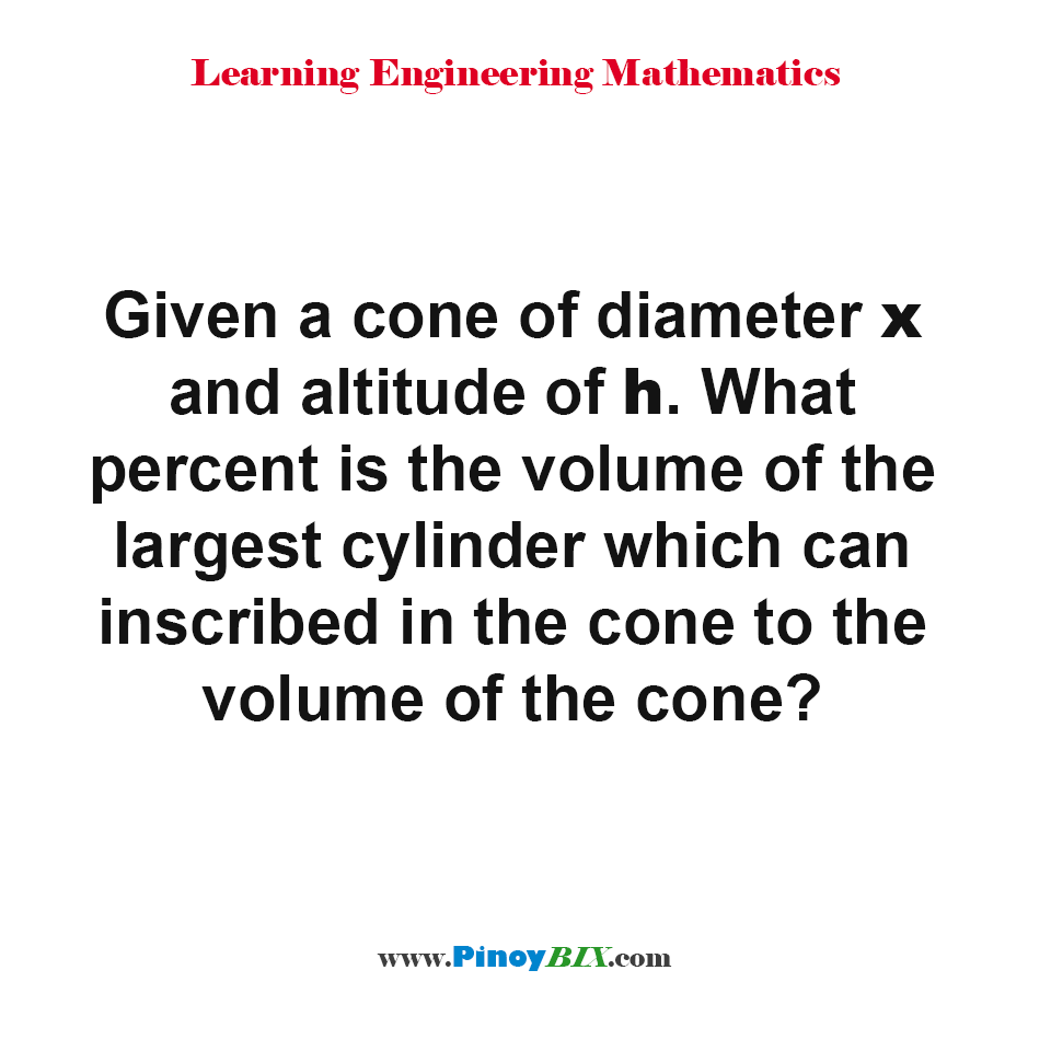 What percent is the volume of the largest cylinder which can inscribed in the cone