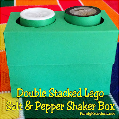 Add a little extra flair to your Lego party by disguising your salt and pepper shakers into two stacked Legos.  This simple printable box will add a double stacked Lego brick to your table and a lot of fun to dinner tonight.