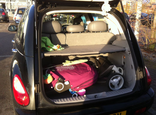 Stokke Xplory in PT Cruiser boot