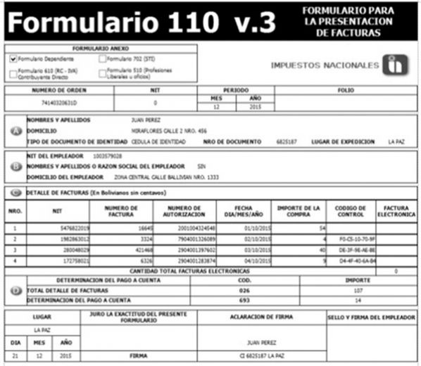 Formulario 110 versin 3 - Bolivia Impuestos Blog