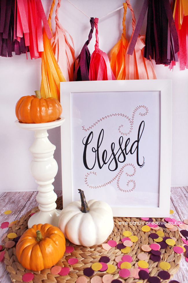 blessed, pumpkins, fall art print, hand lettered, confetti, pen and ink