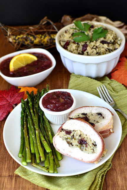 Bacon-Wrapped Turkey Breast with Wild Rice Stuffing by Iowa Girl Eats