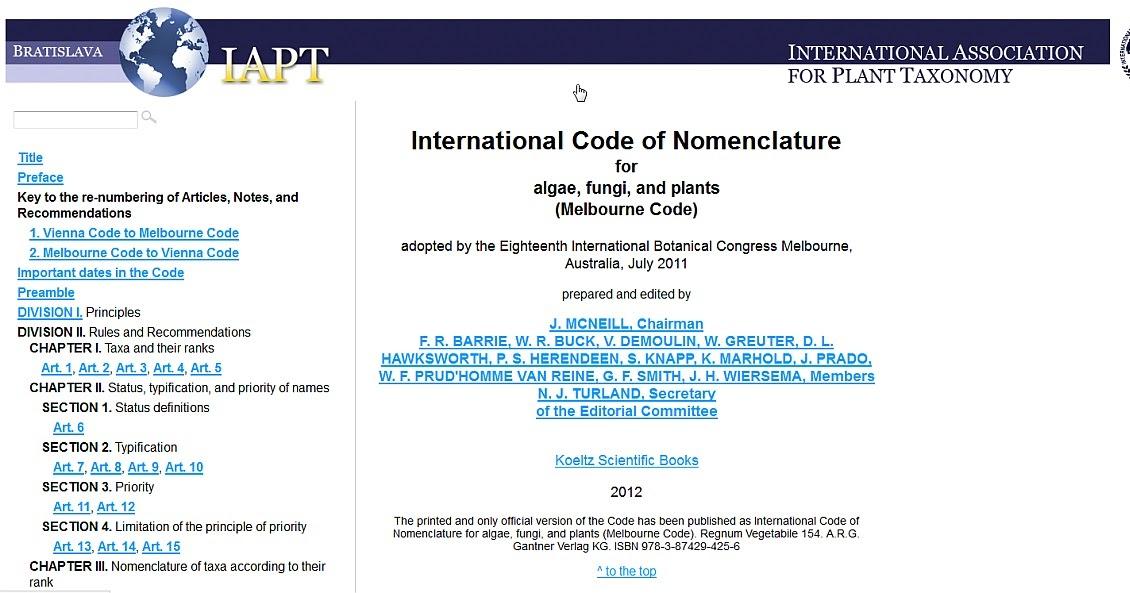 Codigo internacional de nomenclatura botanica