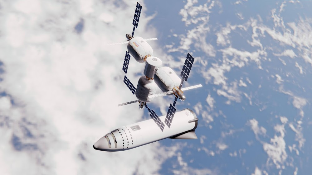 SpaceX BFR spaceship docking to Bigelow orbital station