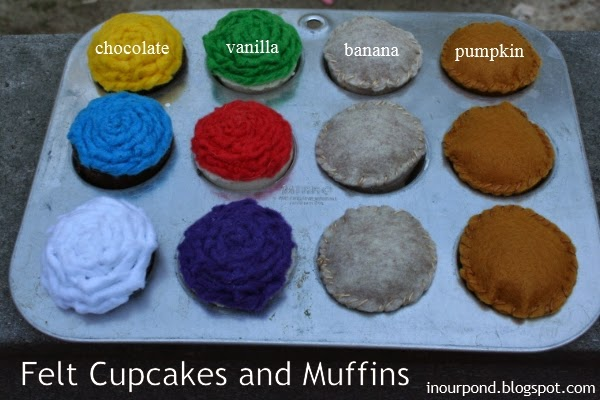 DIY Felt Cupcakes and Muffins for Play Kitchen and Kids' Pretend Play // In Our Pond