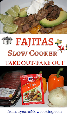 Fajitas in the crockpot slow cooker couldn't be any easier. There's no need to brown the meat and onion beforehand -- just throw it all in the pot. You can use a packet or there's a homemade fajita seasoning mix recipe included here.