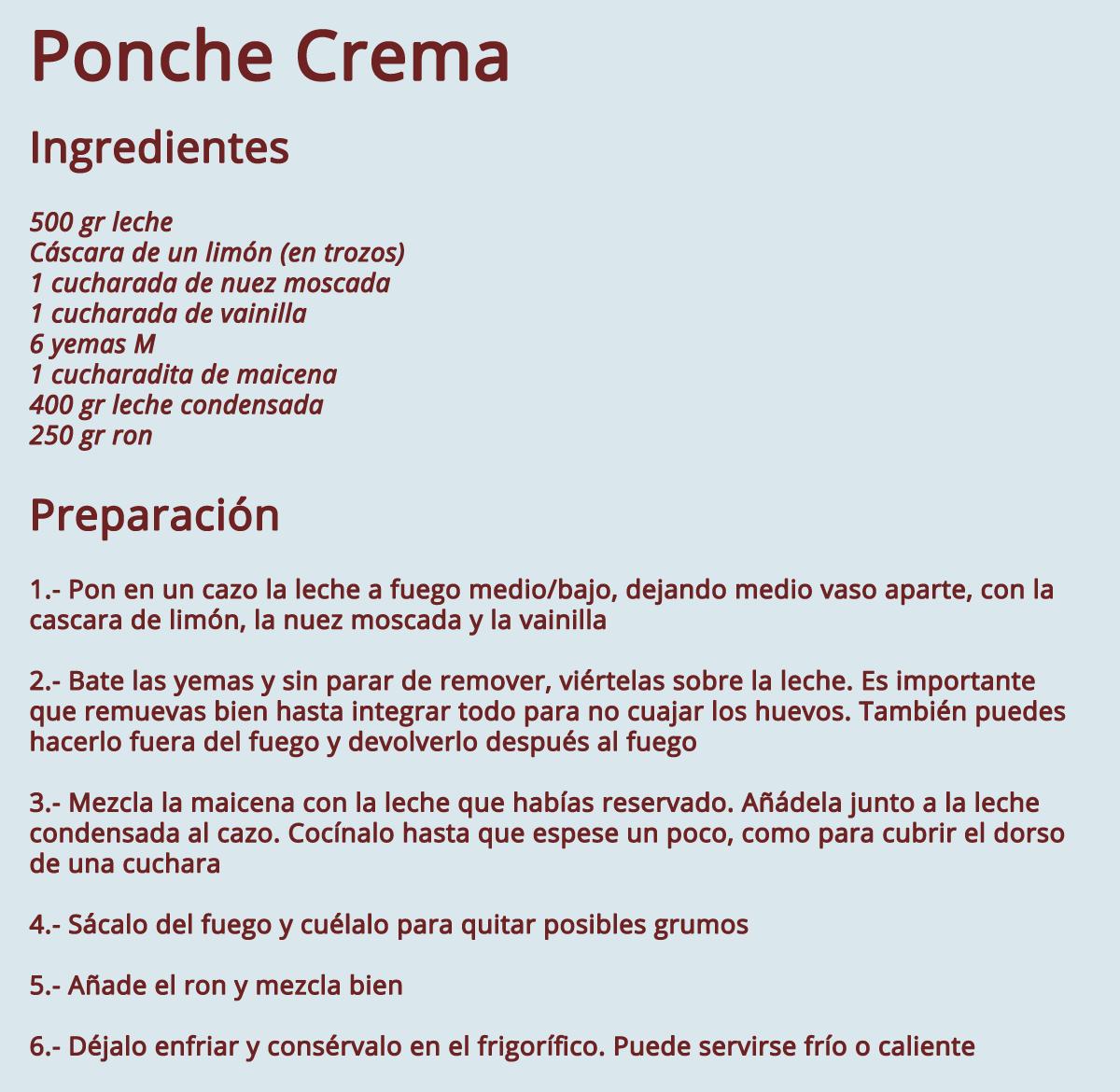 Resultado de imagen para receta de ponchecrema