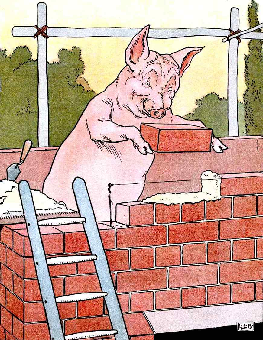 an L. Leslie Brooke illustration from The Golden Goose Book, three little pigs