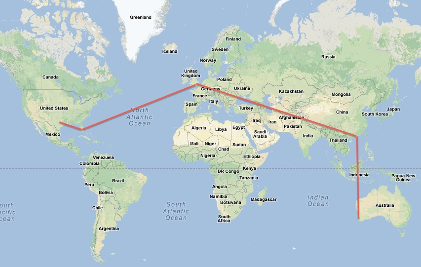 Here S A Little Map Showing All The Places I Went After Leaving Texas You Can See That To Florida First Then England Hong Kong And Finally Perth