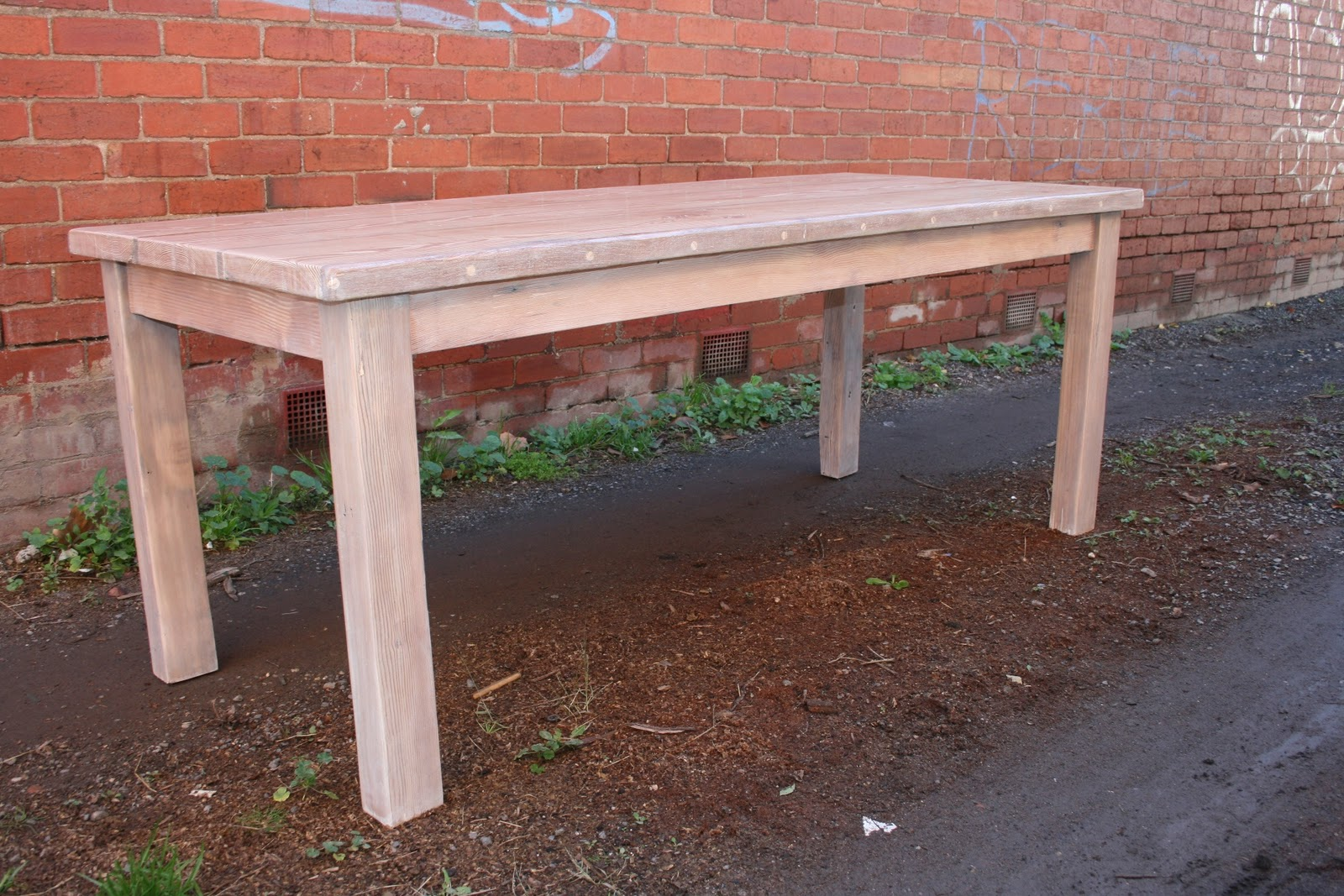 Ora Custom Designs Recycled Lime Washed Oregon Farm Style Dining Table