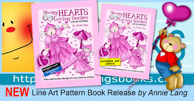 Get art for your heart with Annie Lang's Sharing Hearts and Loving Smiles Line Art Pattern Book!