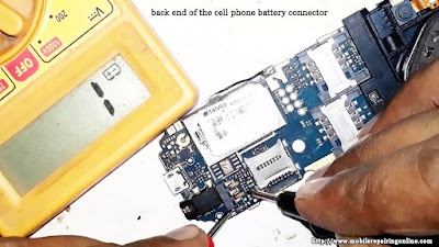 there's a small point at the back of the battery connector which is connected to the front of the battery connector check whether you are able to get a beep sound