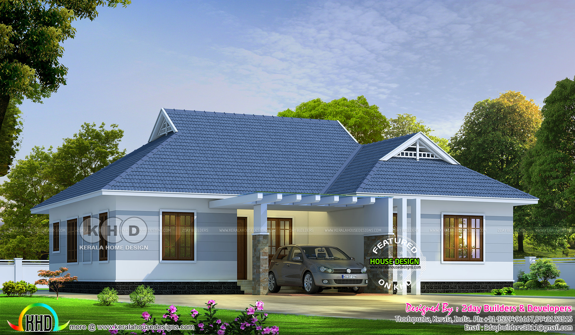 4 bedroom single storied colonial home design kerala for Colonial style house plans kerala