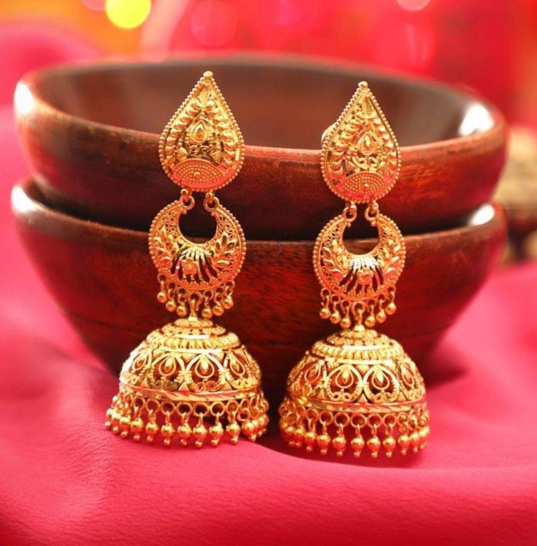 688c43186 55 Beautiful Gold jhumka earring designs || Tips on Jhumka shopping ...