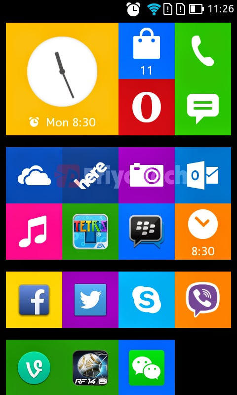 Nokia X2 Hands-on Homescreen