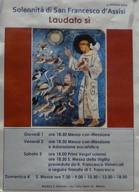 1-2-3-4 ottobre 2015, Milano - Solennità S. Francesco d'Assisi