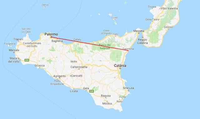 Mapa da viagem de trem de Palermo a Taormina