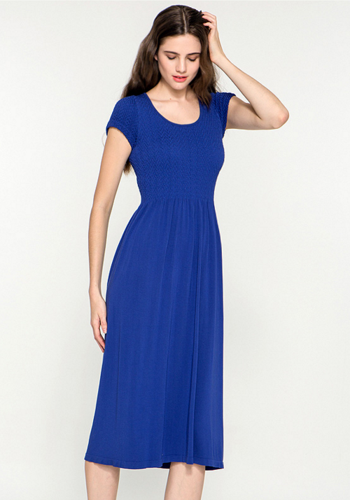 Basic Cap Sleeved Long Dress