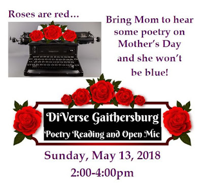 """Picture of a typewriter with roses on it surrounded by the words, """"Roses are red... Bring Mom to hear some poetry on Mother's Day and she won't be blue!"""""""