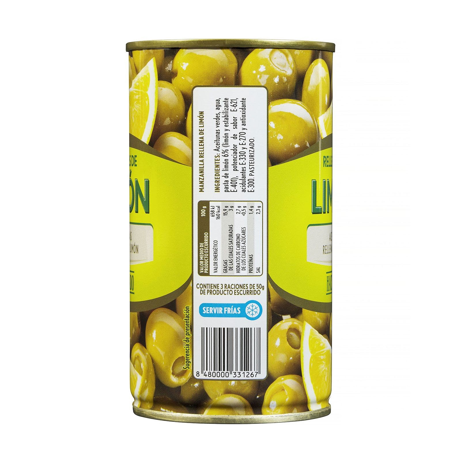 Aceitunas verdes rellenas de limón Hacendado