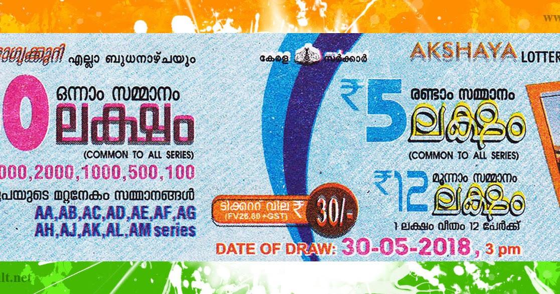 Kerala Lottery Results Today 30.05.2018 LIVE : Akshaya AK