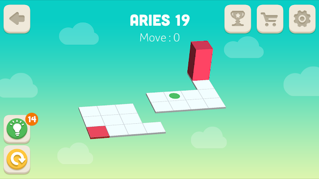 Bloxorz Aries Level 19 step by step 3 stars Walkthrough, Cheats, Solution for android, iphone, ipad and ipod