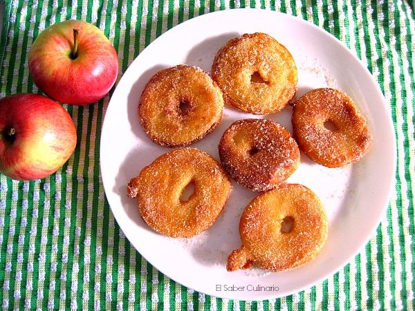 Manzana rebozada frita