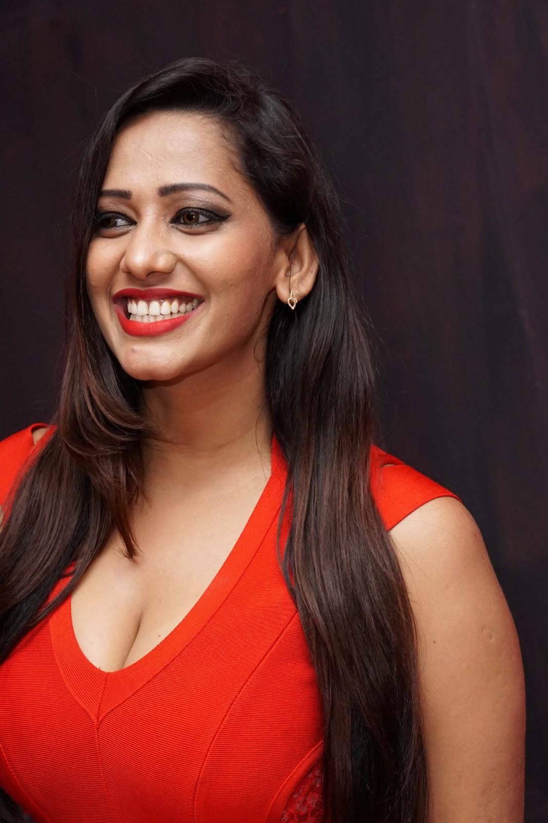 Beauty Galore HD : Hot Sanjana Singh Big Cleavage In Red Dress
