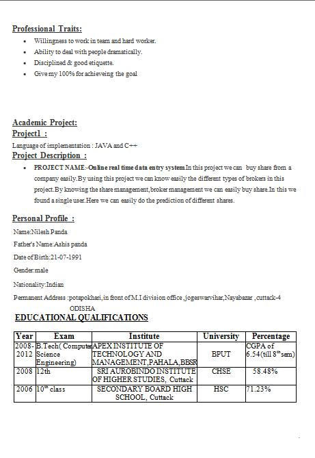 Basic Computer Knowledge Resume. Trinath Naik Update Resume